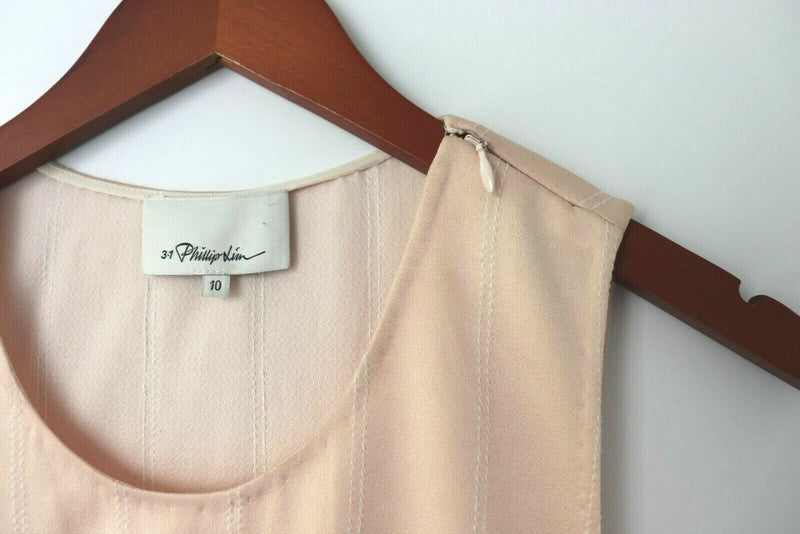 3.1 Philip Lim Women's Size 10 White Pink Dress Satin Panel Sleeveless 2tone EUC