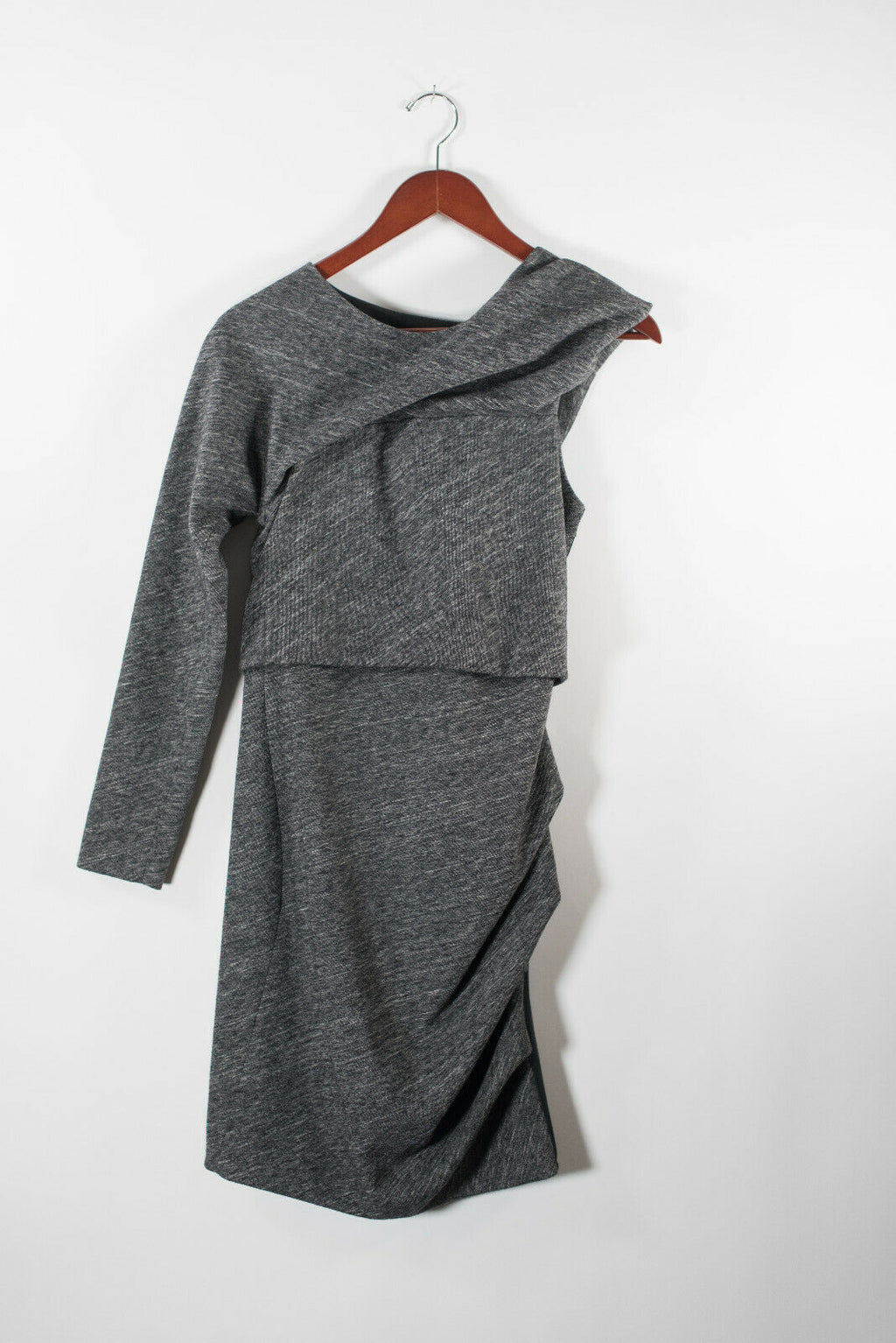 Yigal Azrouel Womens 4 Small Grey Dress Asymmetrical Sleeve Ruched Full Zip Mini