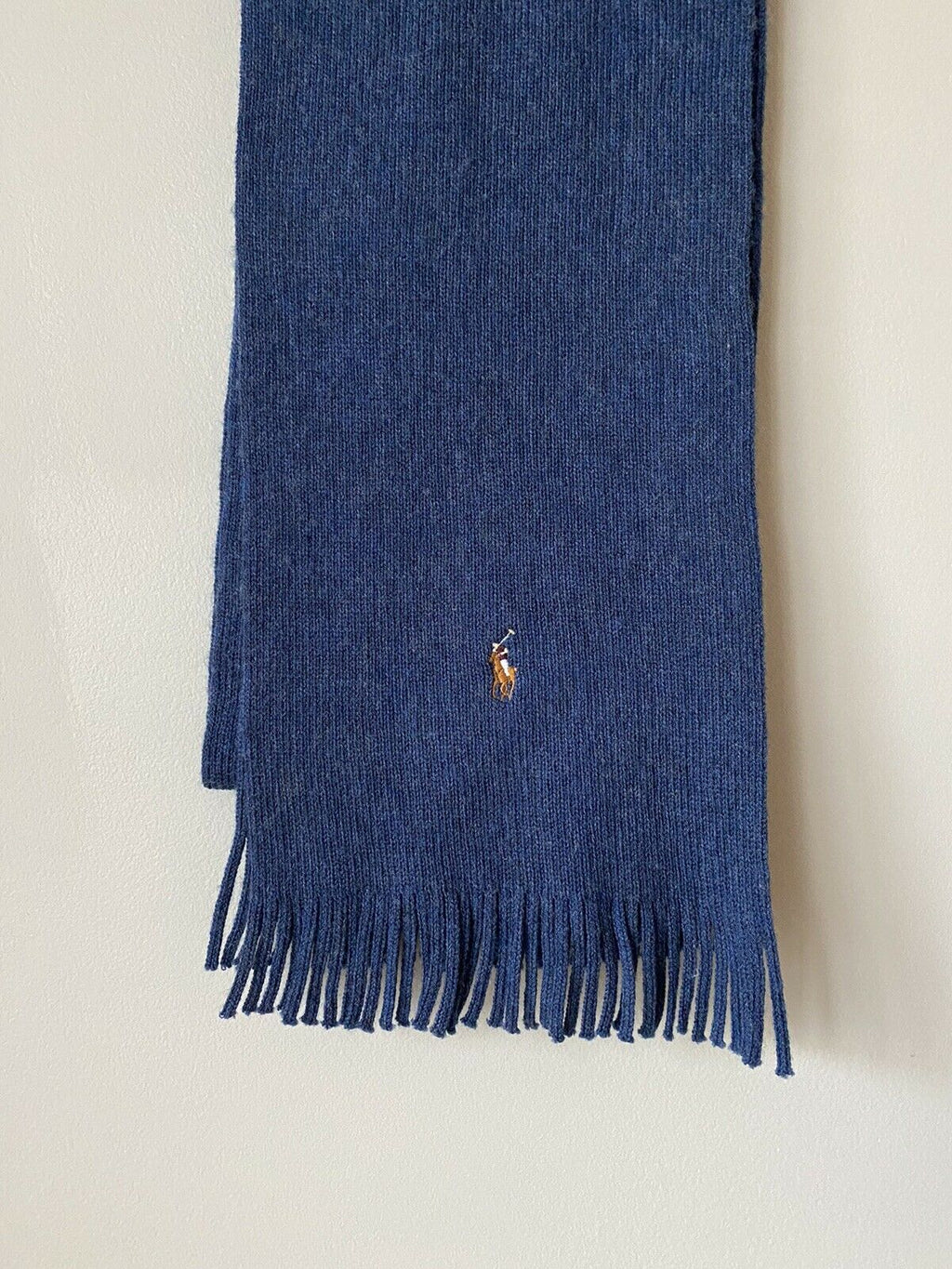 Polo Ralph Lauren Italy Women's Blue Scarf Logo Lambswool Knit Thick-Ply Fringed