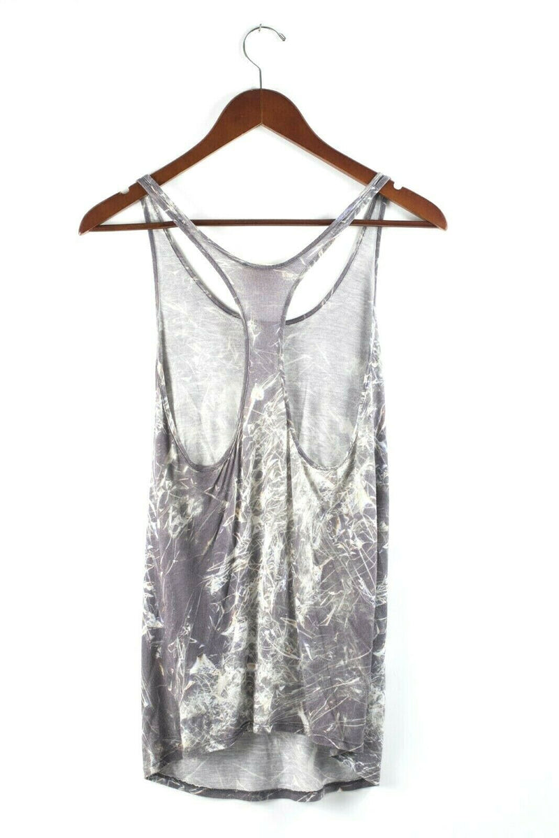 Helmut Lang Womens Size Petite Grey Tank Top Scoop Neck Sleeveless Graphic Shirt
