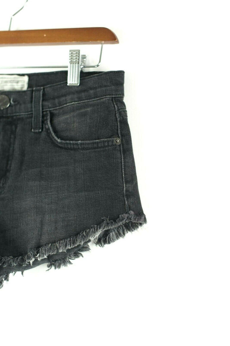 Current Elliott Womens Size 23 XXS Black Shorts Slouchy Cut Off Jean Mini Denim
