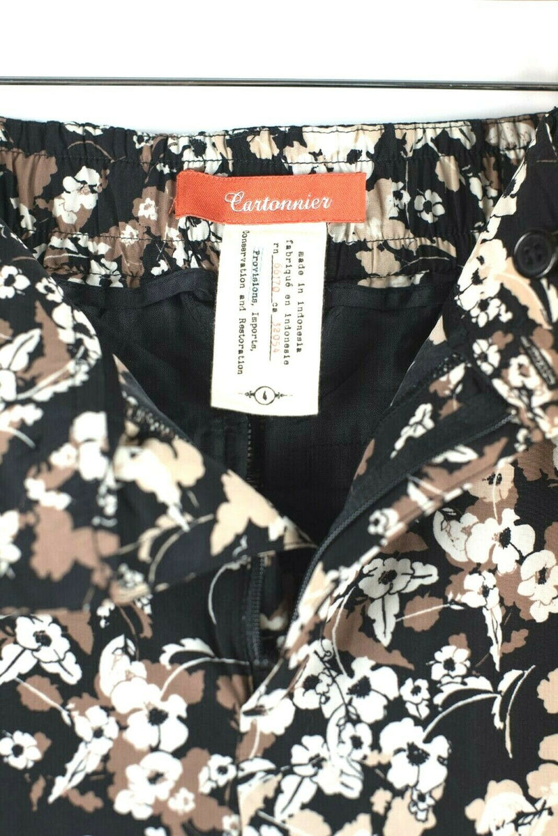 Cartonnier Anthropologie size 4 Brown Black Pants Nassella Joggers Floral Crop