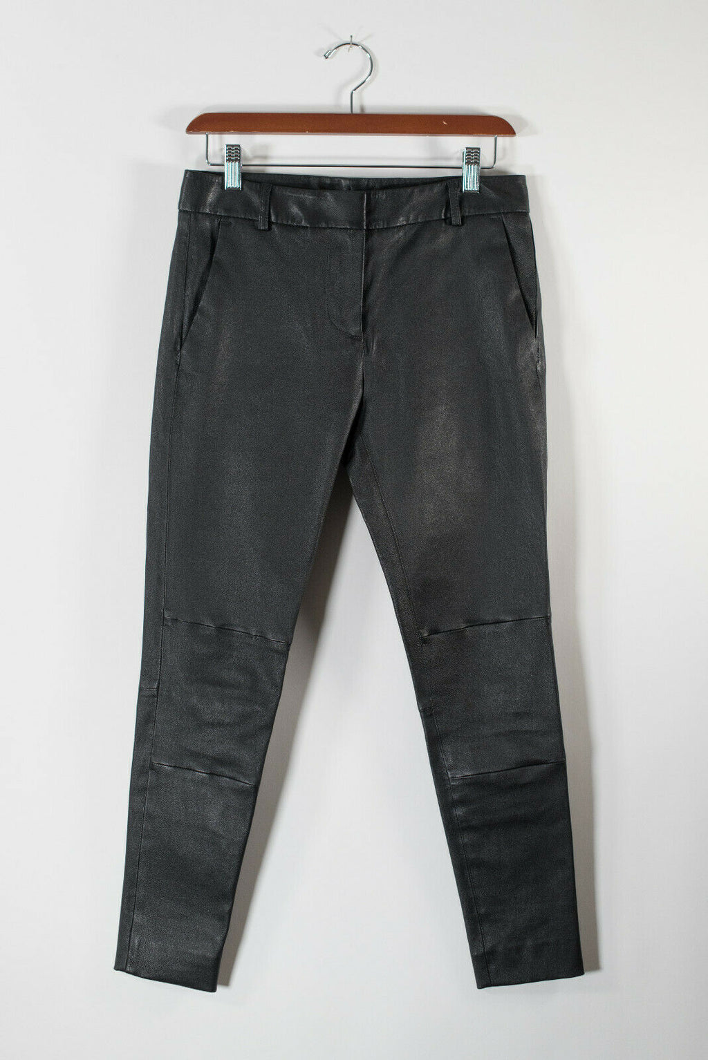 Hi Lo Womens 6 Small Black Trouser Stretch Leather Boyfriend Slim Pants NWT $699