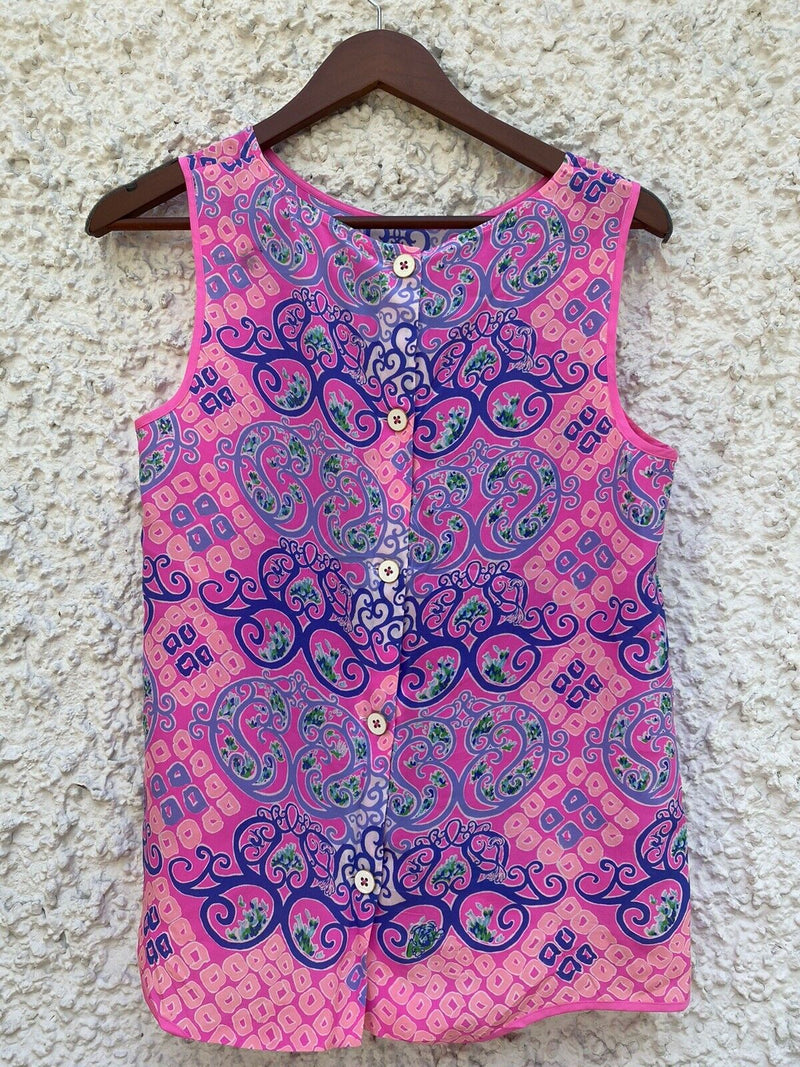 Lilly Pulitzer Women's Medium Pink Tank Top Tropical Floral Button Back Blouse