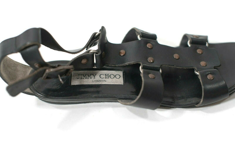 Jimmy Choo Womens 37.5 Black Sandals Leather Flat Strappy Open Toe Studded Shoes