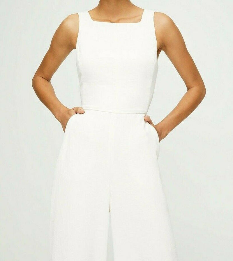 Aritzia Wilfred Women's Size 4 Light Birch Écoulement Jumpsuit Tie-Waist V-neck