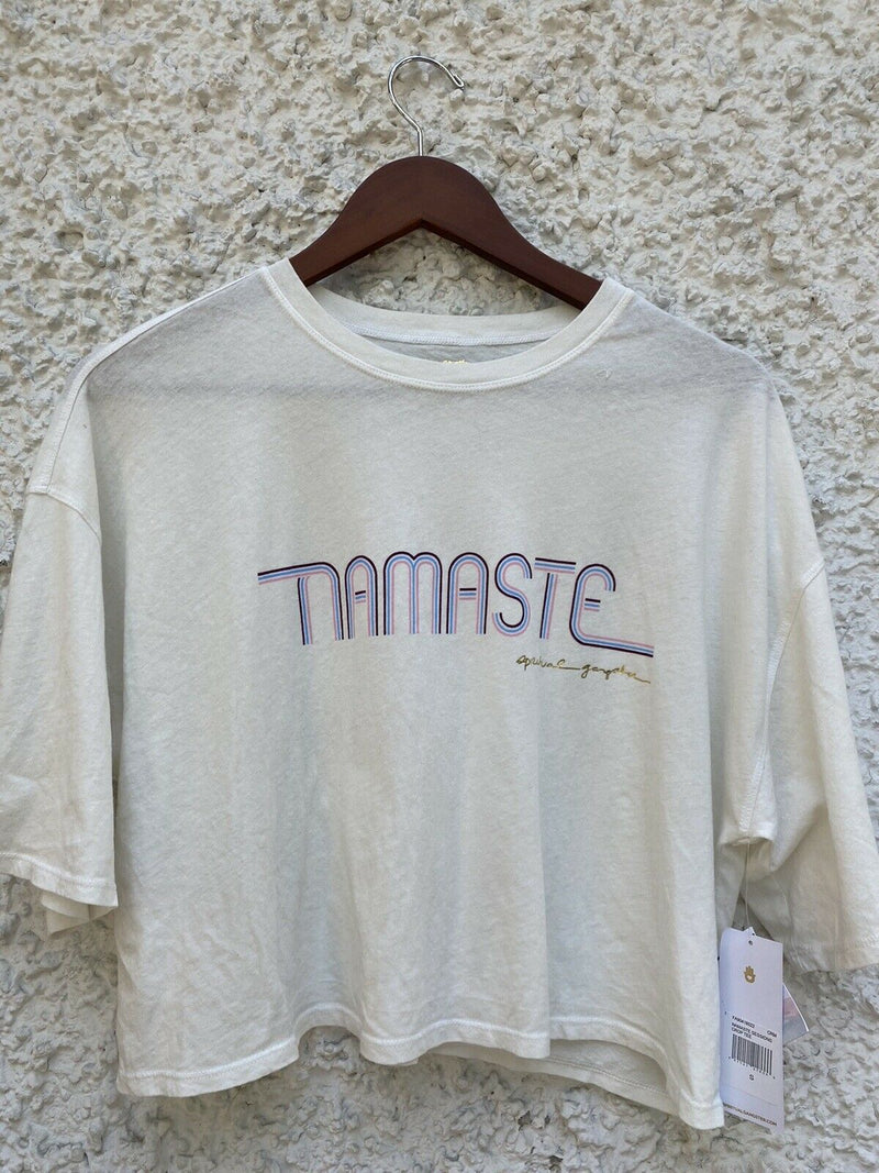 Spiritual Gangster Womens Size Small White Namaste Sessions Crop Tee T-Shirt NWT