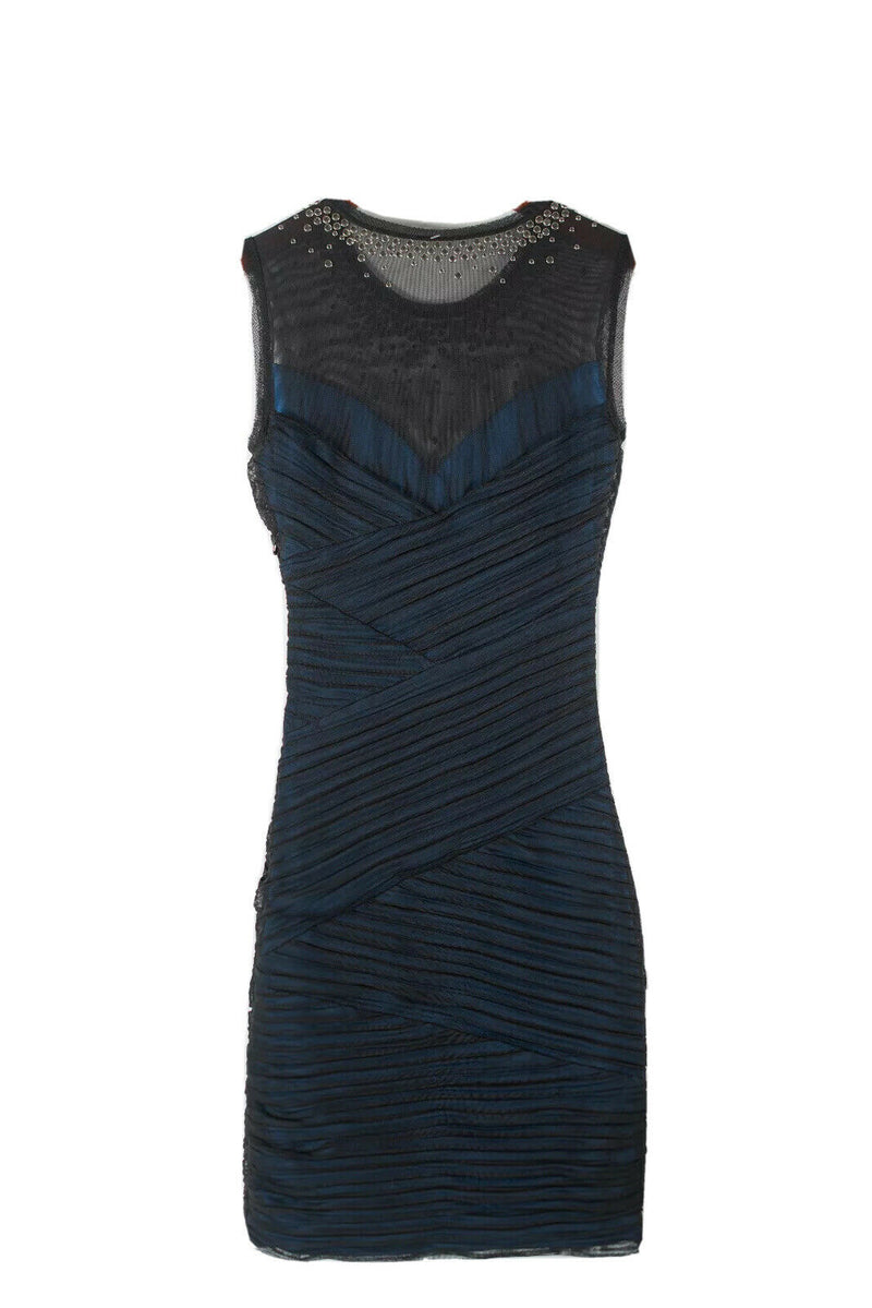 BCBG Maxazria Womens XXS Black Dress Sleeveless Ruched Mesh Blue Underlay Studs