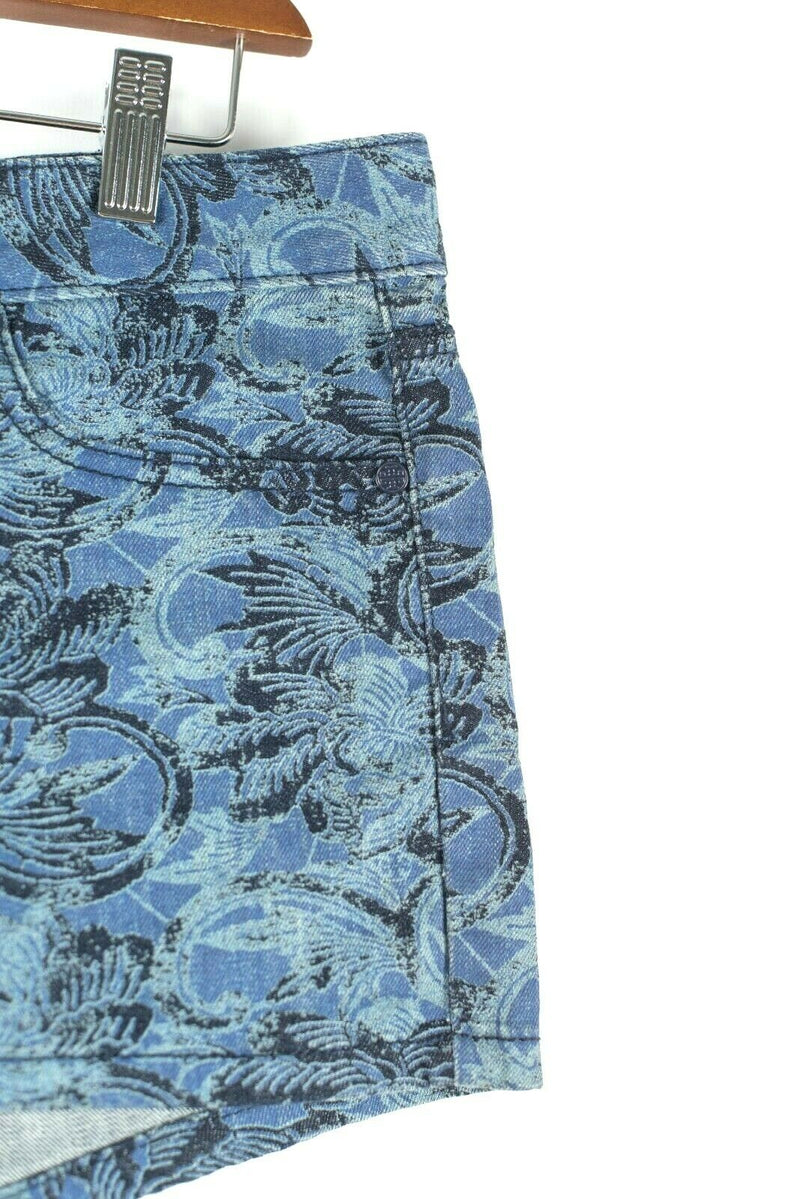 Tory Burch Womens Size 29 Medium Dark Blue Shorts Damask Stretch Cotton $165