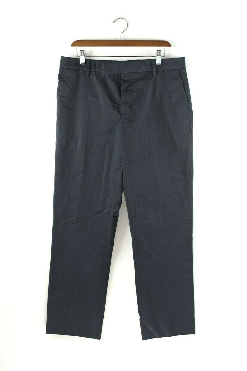 Marni Womens Size 44 Medium Blue Trousers Slim Leg Flat Front Cotton Dress Pants