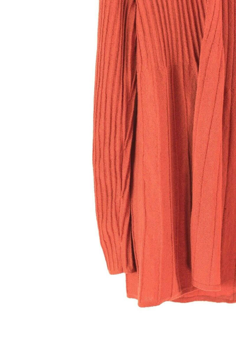 Eileen Fisher Womens XS Orange Cardigan Sweater Loose Knit Ribbed Open Front Top