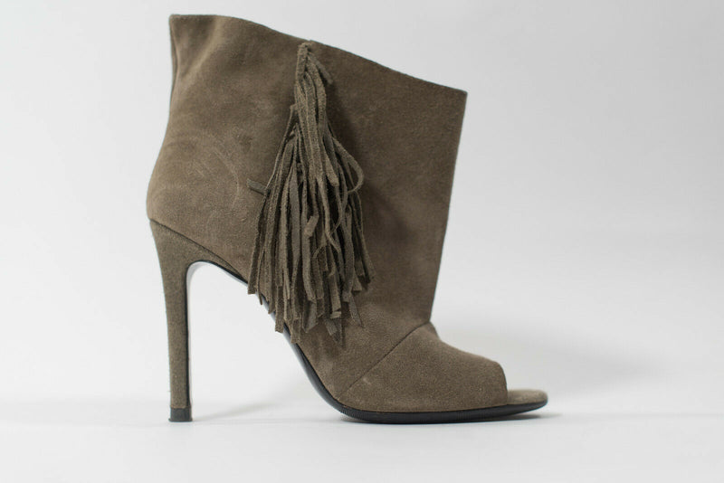 Barbara Bui Womens 36 Brown Ankle Boots Open Toe Suede Fringe Tassel Heel Pumps