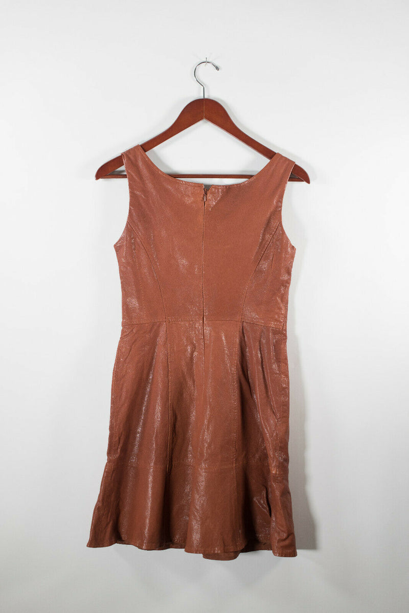 Nanette Lepore Womens 2 XS Caramel Brown Dress Stolen Kiss Leather Dress $1116