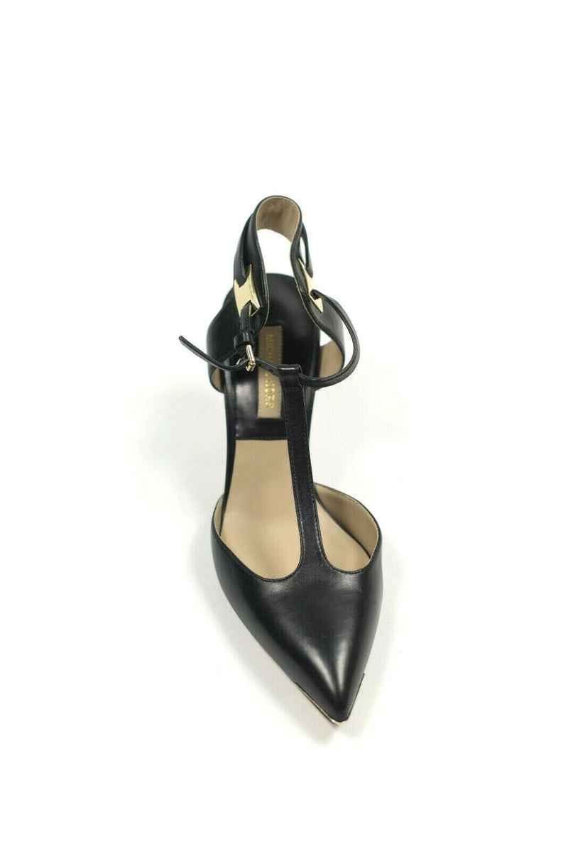 Michael Kors Collection Size 36.5 Black Gold T Strap Kitten Heel Pumps