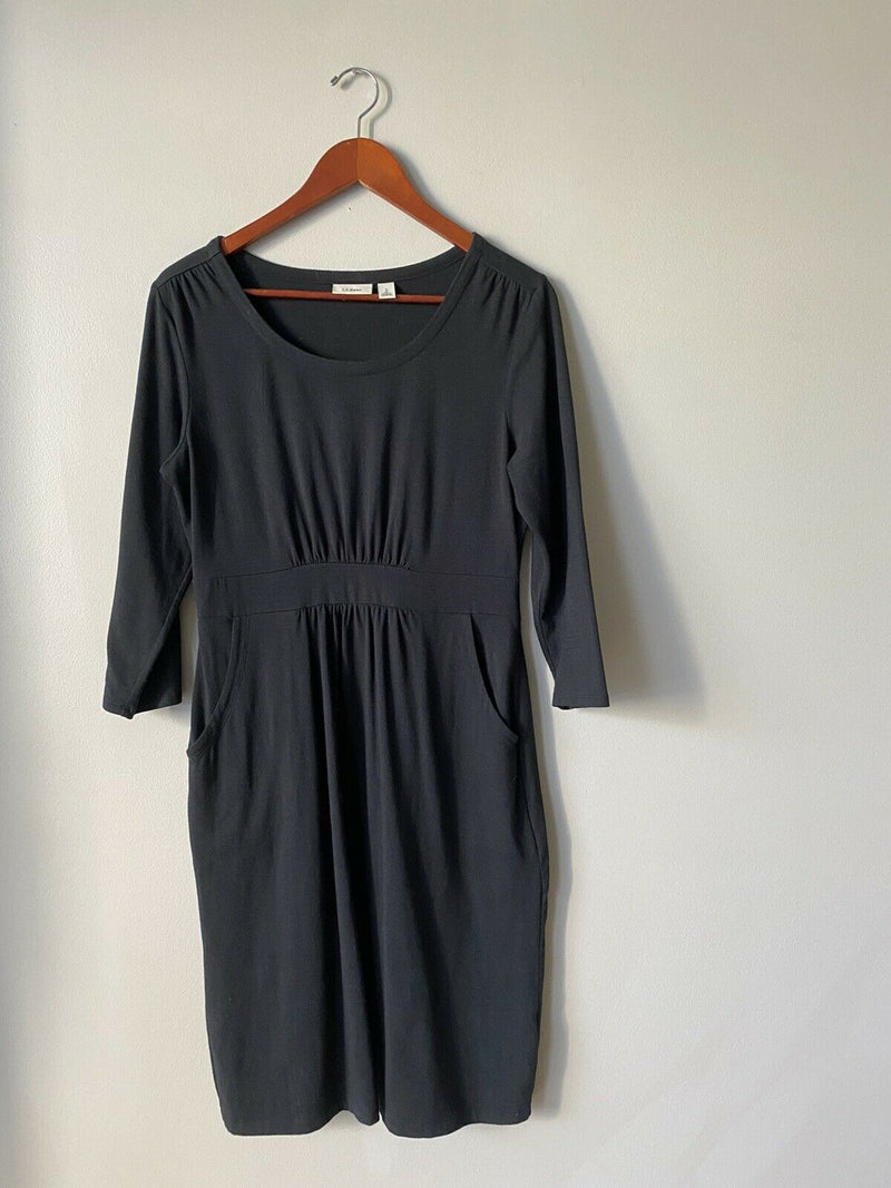 LL Bean Women's Size Small Black Dress 3/4 Sleeve Cotton Stretch Side Pockets
