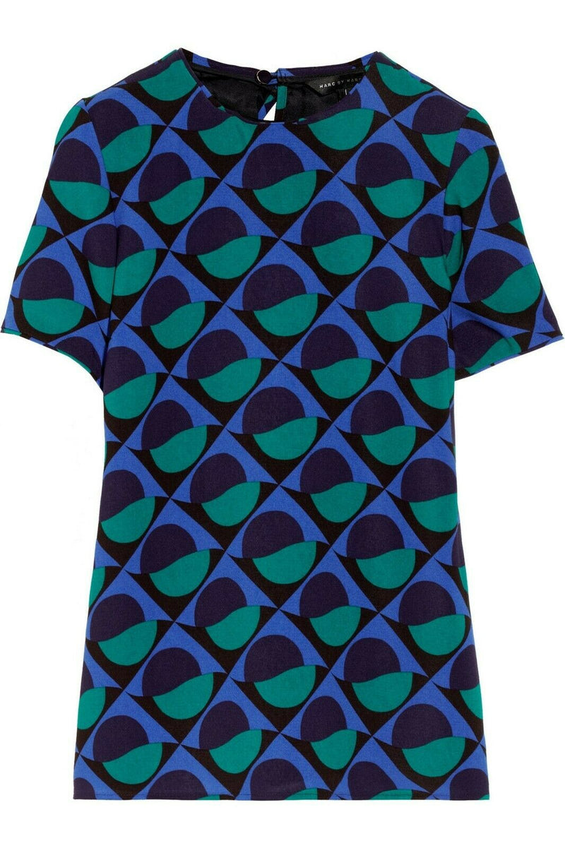 Marc by Marc Jacobs Womens Size 0 Indigo Blue Green Etta Shirt Printed Crepe Top