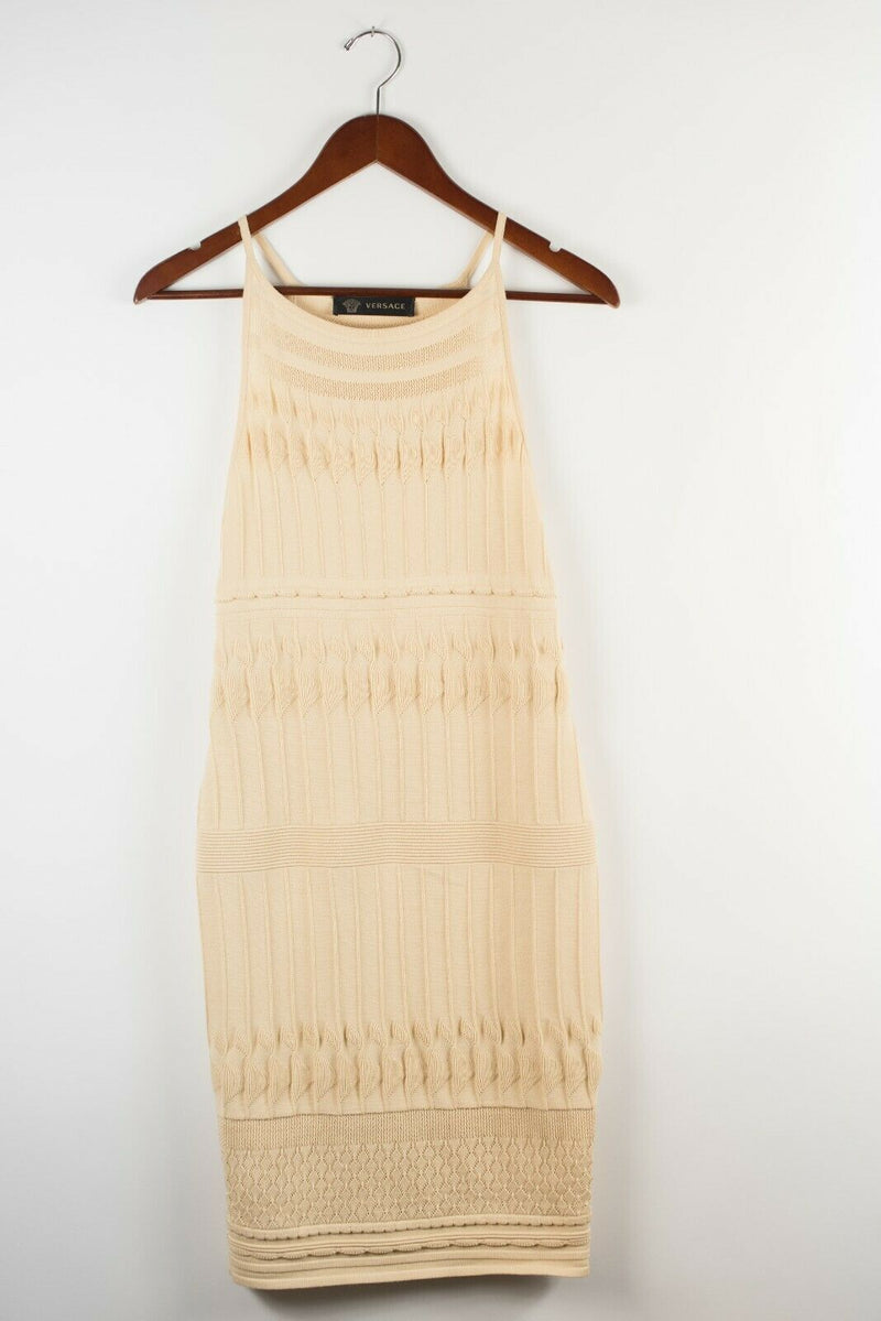 Versace Womens Small Beige Tan Dress Ribbed Crochet Knit Midi Tank Strap Bodycon