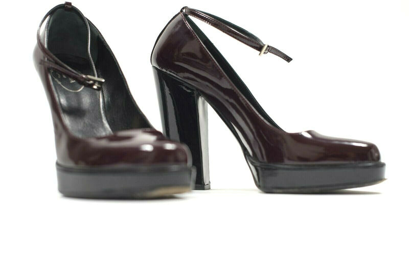 Prada Womens 38 Burgundy Pumps Heel Platform Mary Jane Ankle Strap Red Shoes