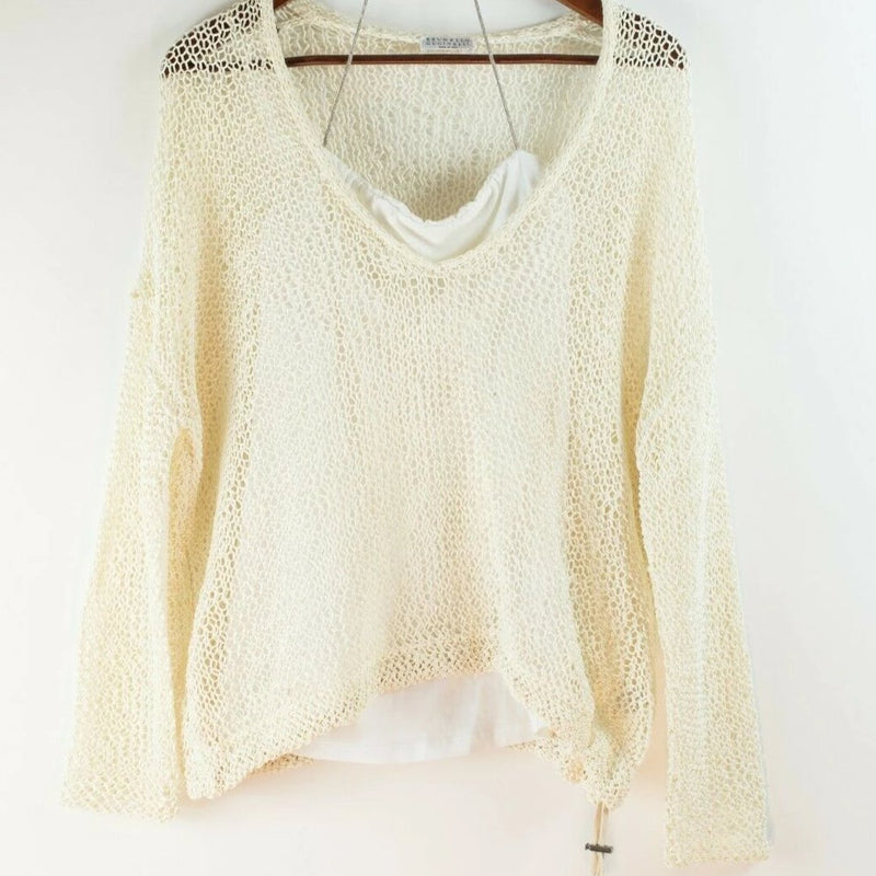 Brunello Cucinelli Womens Medium White Sweater Knit Camisole Beaded Necklace Set