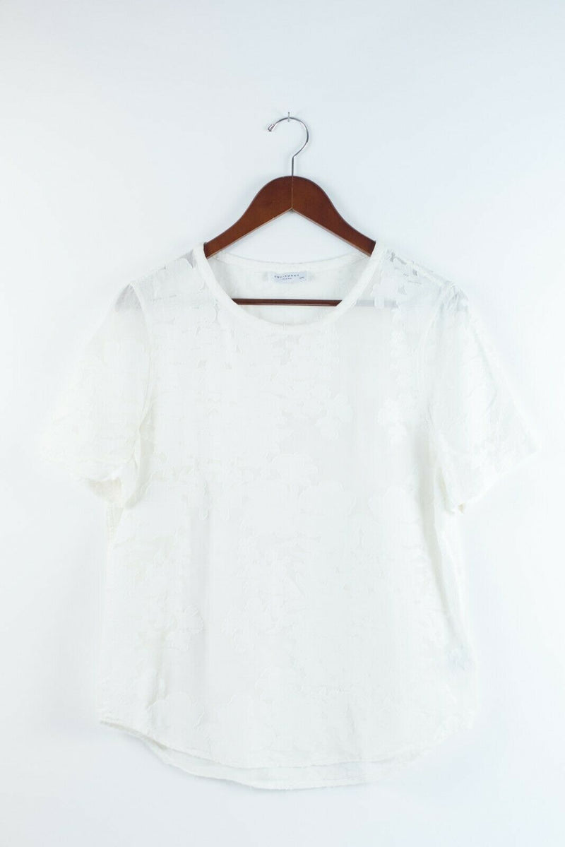 Equipment Womens Size Medium White Top Short Sleeve Blouse Pullover Embossed Tee