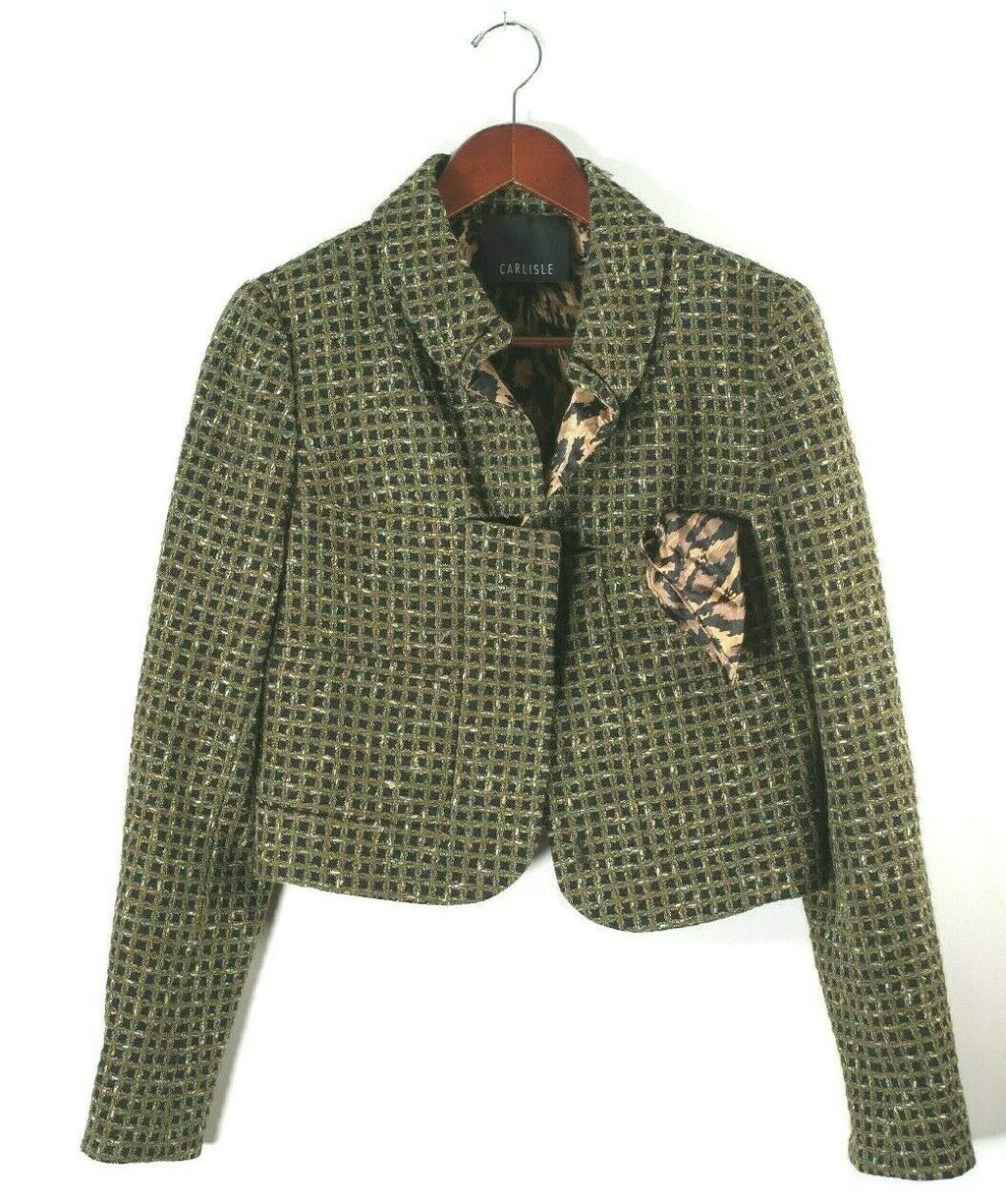Carlisle Womens Size 8 Medium Olive Green Jacket Tweed Knit Leopard Handkerchief