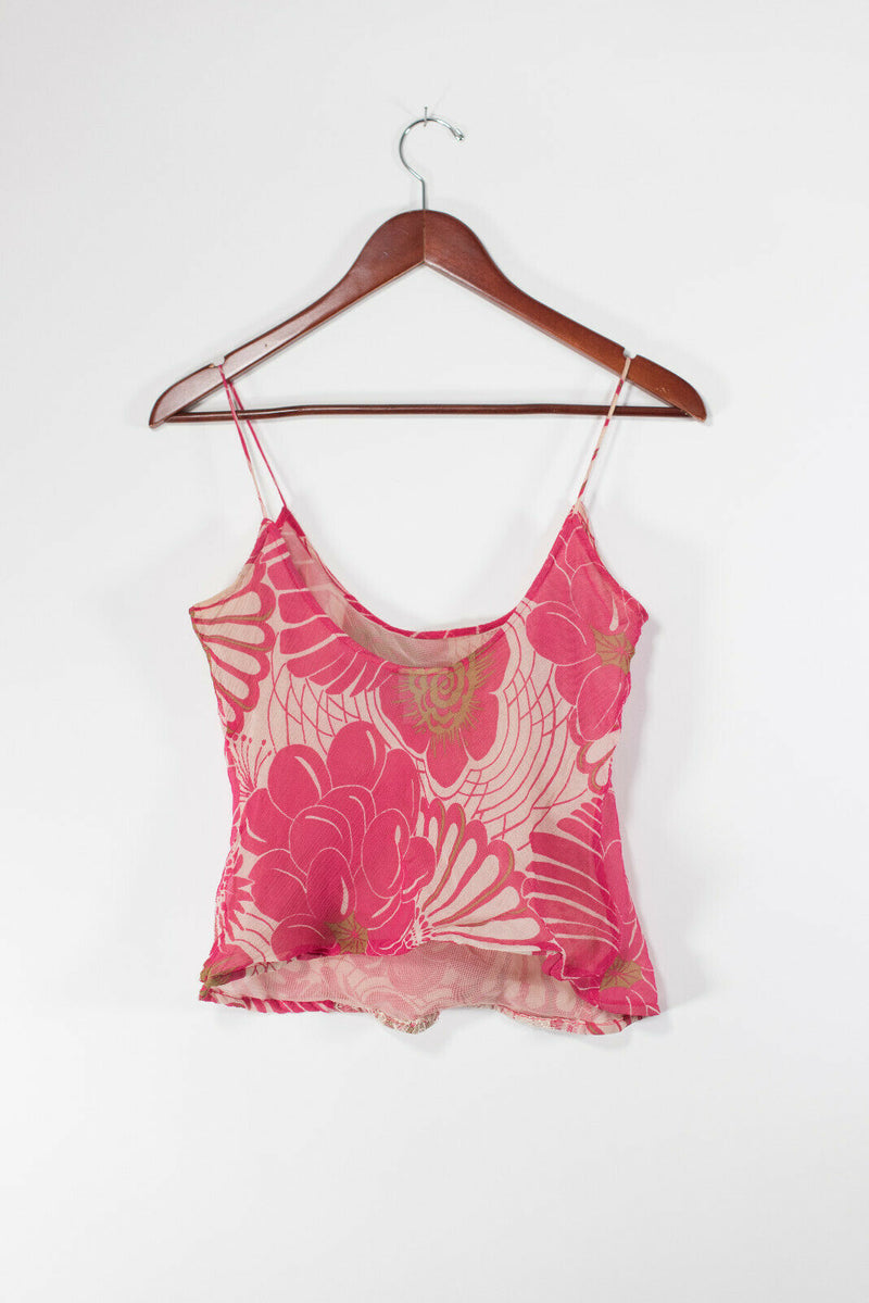 Tracy Reece Womens Size 4 Pink Ivory Camisole Floral Blouse Tank Top Lace Silk