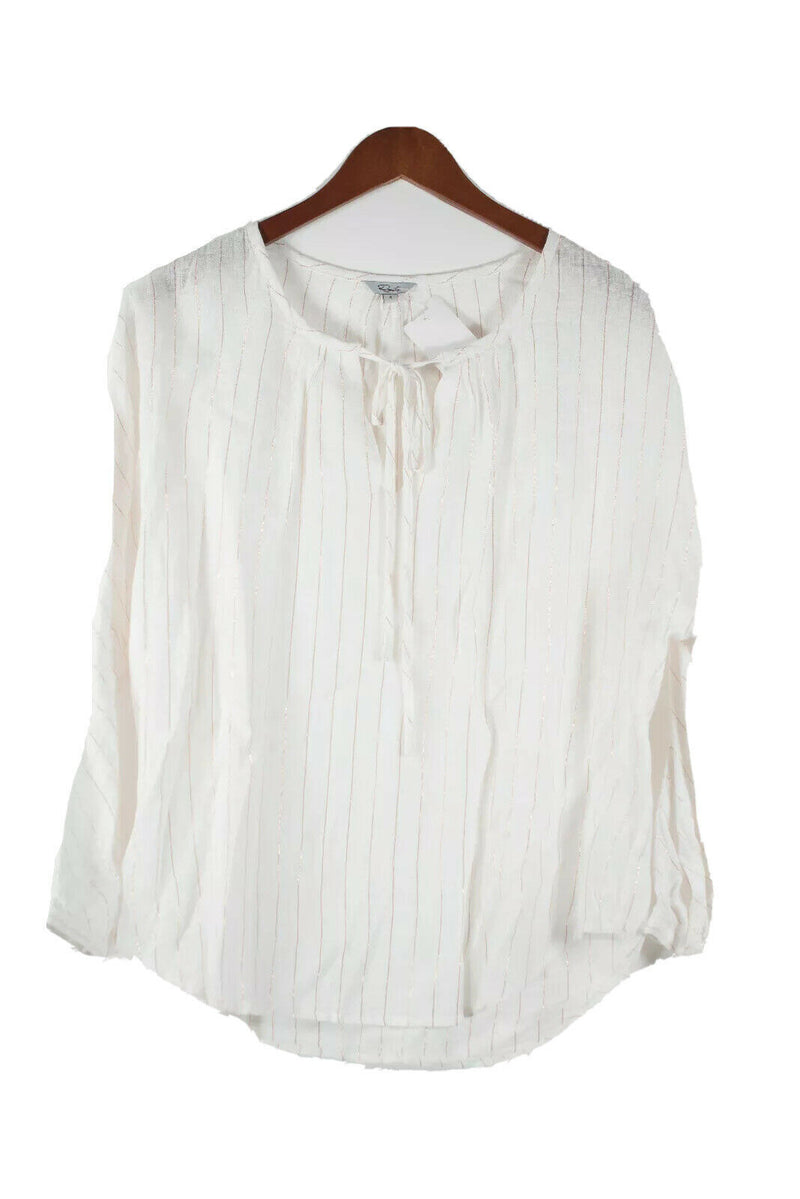 Rails Womens Small White Gold Shirt Striped Linen Blouse Tie Front Blouse Top