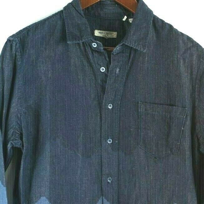 Levi's Made and Crafted Womens Size 1 Small Blue Blouse Denim Ombre Shirt Top