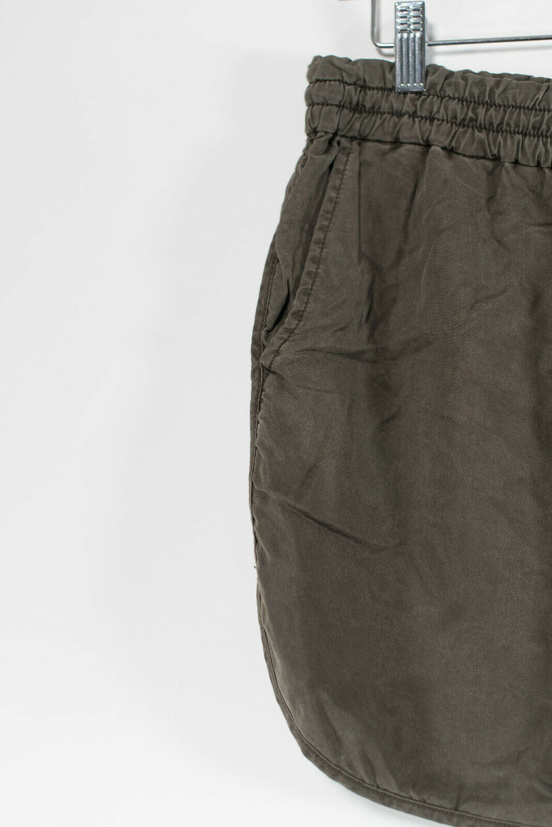 Aritzia Community Womens Size XS Olive Green Mini Skirt Elastic Waist Pockets