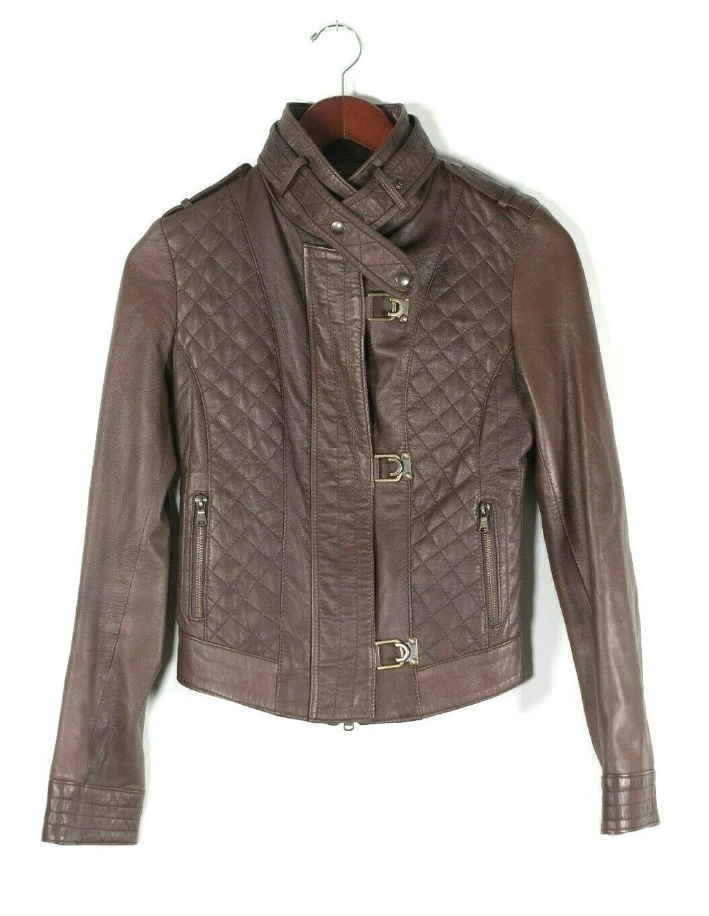 A. Raspini Womens Size 40 Small Brown Motorcycle Jacket Short Quilted Leather