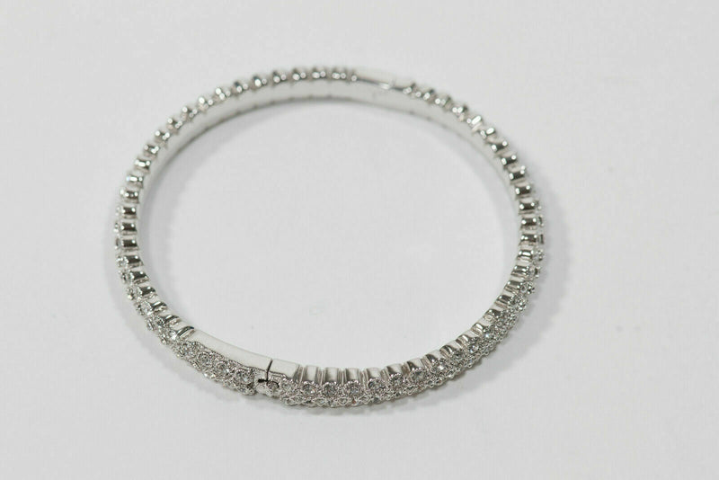 Nadri 925 Silver Double Row Crystal Hinged Bracelet