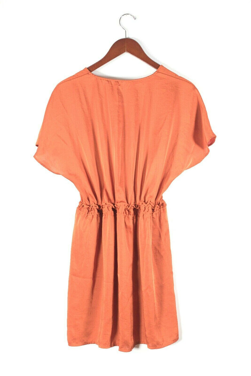 Maje Womens 2 XS Orange Shift Dress Short Satin Elastic Waist Keyhole Neck Mini