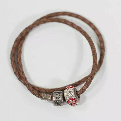 Pandora Womens Brown Bracelet Leather Barrel Clasp Double Wrap Heart Charm