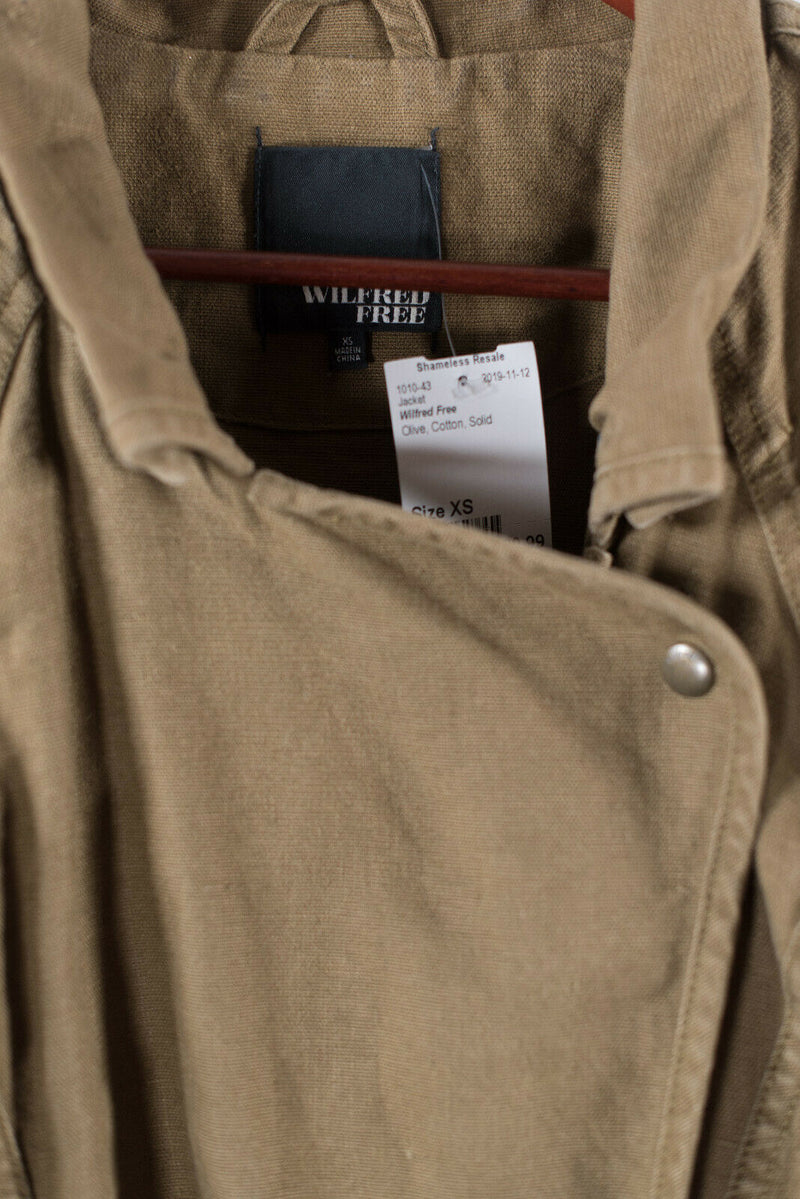 Aritzia Wilfred Free Womens XS Green Rayder Jacket Linen Blend Moto Cargo Pocket