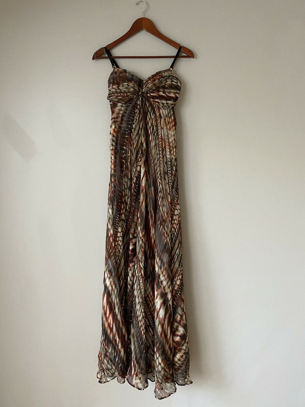 Marciano Women's Size XS White Brown Maxi Dress Formal Graphic Cocktail Gown