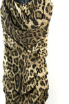 Dolce Gabbana Womens XS Brown Tan Dress Ruched Leopard Print Silk Mini