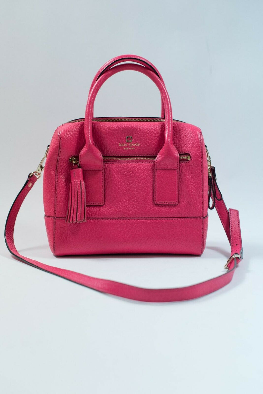 Kate Spade New York Womens Pink Handbag Neon Leather Purse Crossbody Strap Tote