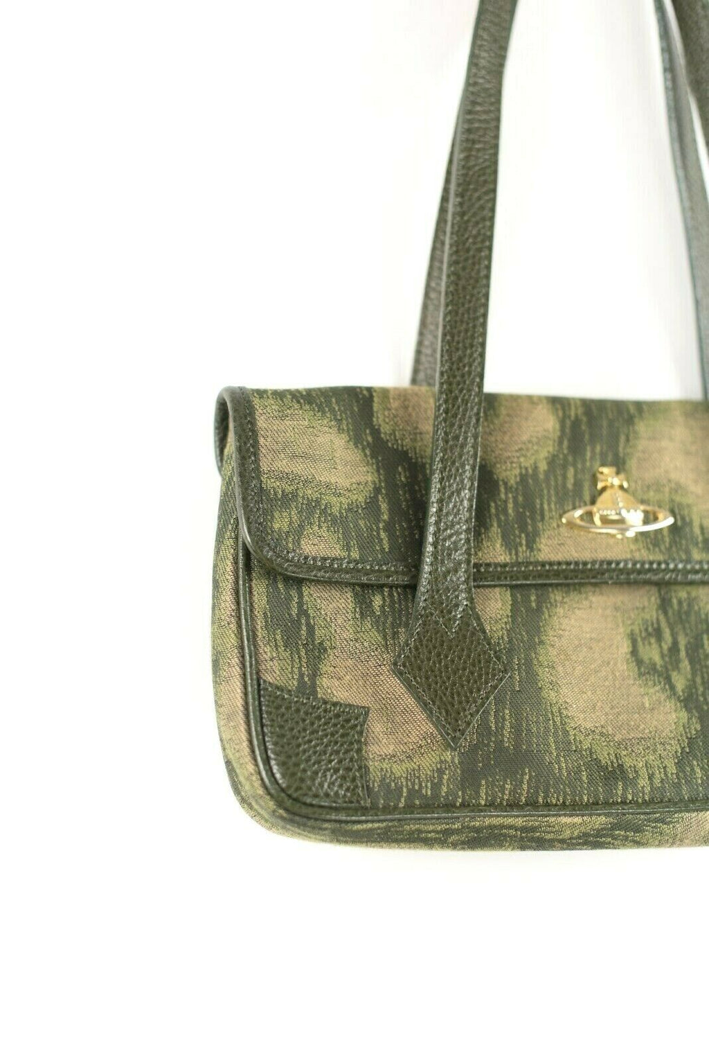 Vivienne Westwood Womans Green Handbag Vintage Fabric Flap Shoulder Bag Purse