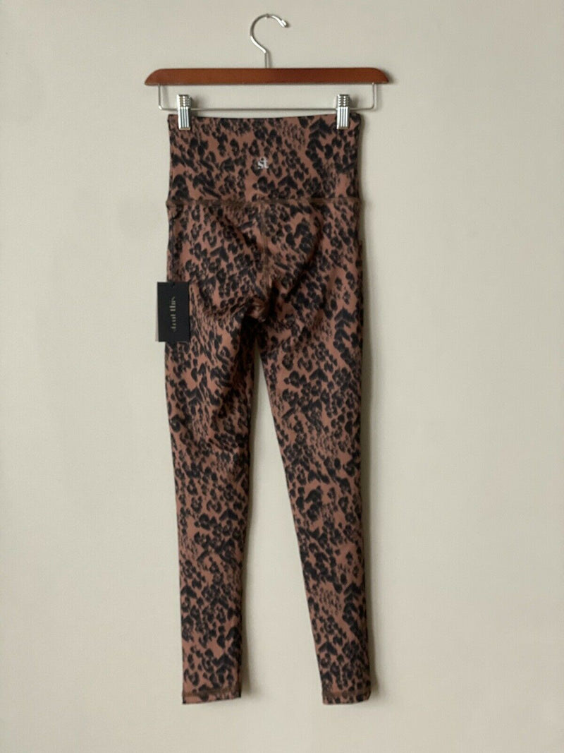 Strut This Women's Small Brown Black Leggings Animal Print Side Pocket Pants NWT