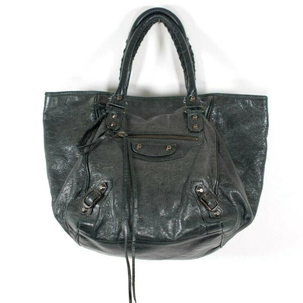 Balenciaga Womens Black Handbag Motocross Classic Sunday Tote Leather Purse Auth