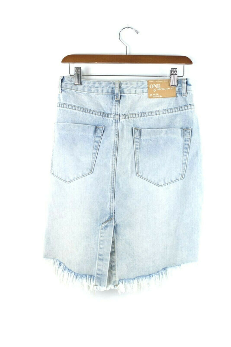 One X By One Teaspoon Size 27 Blue Skirt 2020 Jean Distressed Cutoff Denim Mini