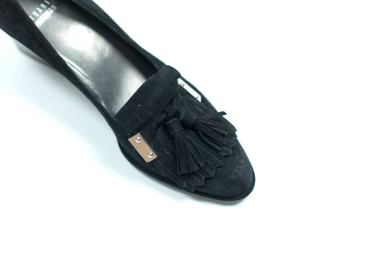 Stuart Weitzman Womens 8.5 Black Pumps Suede Leather Tassel Close Toe High Heels