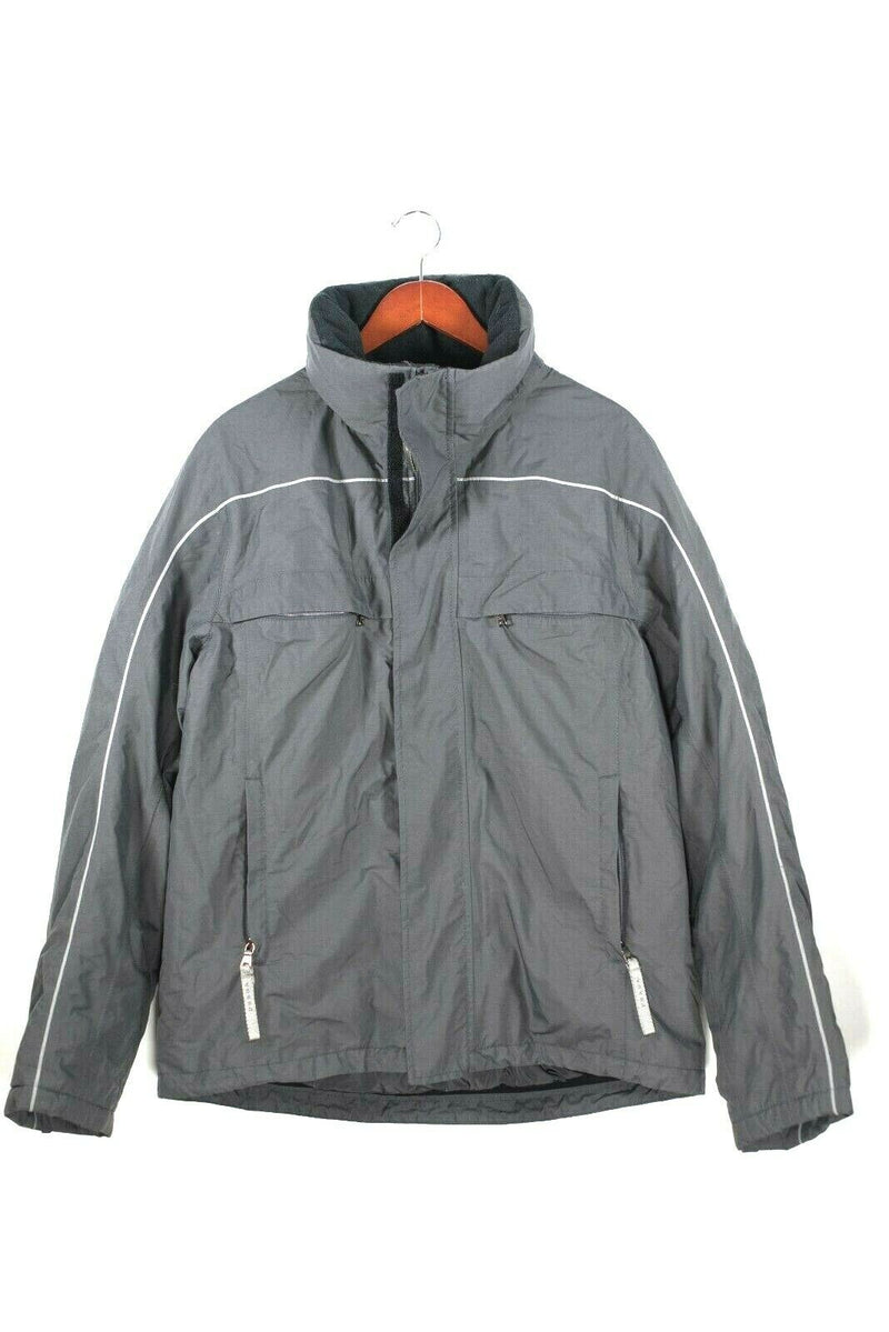 Prada Mens Size 52 XL Charcoal Grey Ski Jacket Gore-Tex Stripe Water Resistant