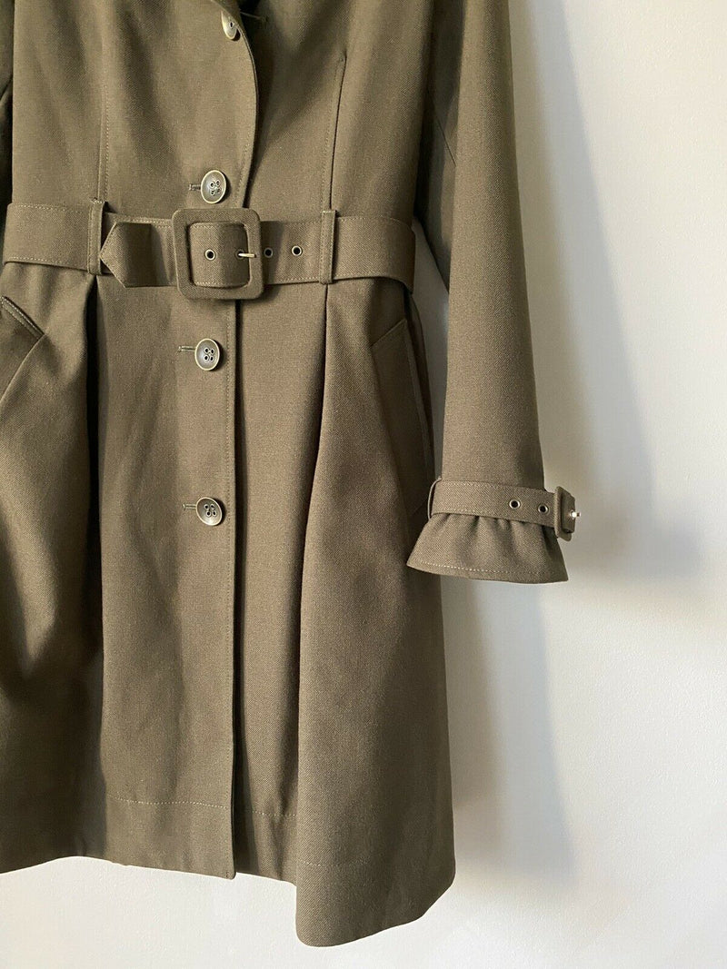 Franco Mirabelli Women's Size 6 S Olive Green Trench Coat Pleated Belted Jacket