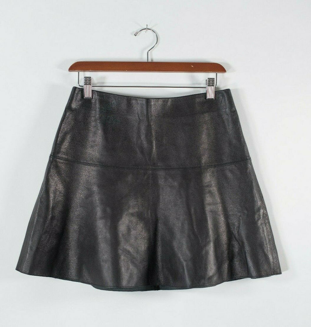 Vince Womens Size 4 Small Black Skirt Soft Leather Fit And Flare Short Mini $595