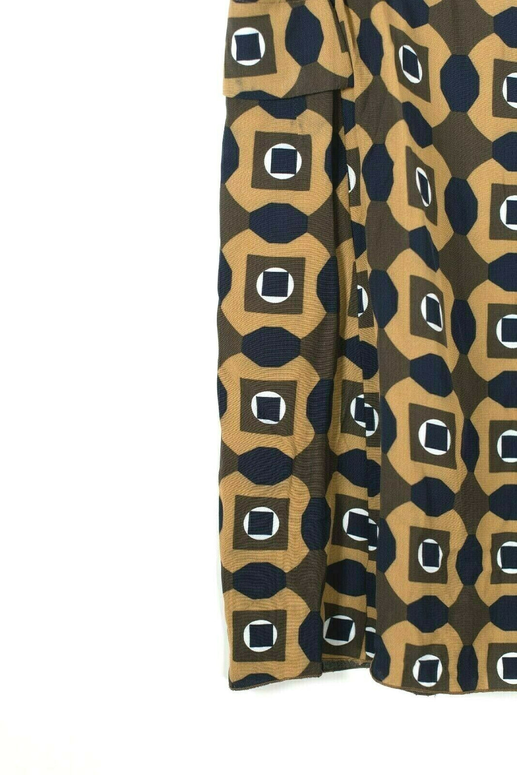 Marni Womens Size 40 Small 4 Brown Blue Mini Skirt Geometric Print Side Pockets