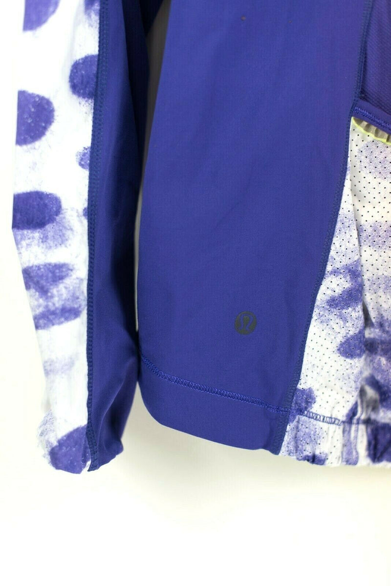Lululemon Athletica Womens Size 8 Medium Purple White Track Jacket Graphic Print