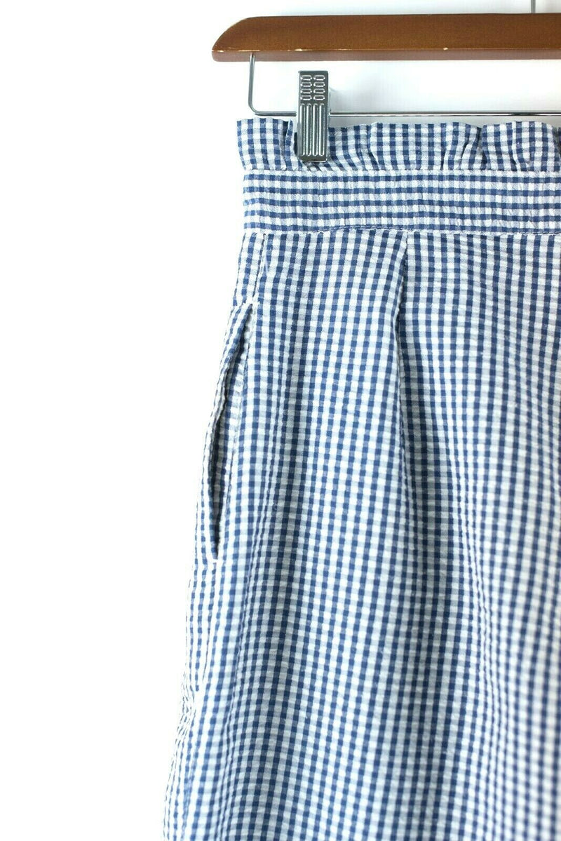 Topshop Womens Size 4 Small White Navy Blue Trousers Gingham Straight Leg Pants