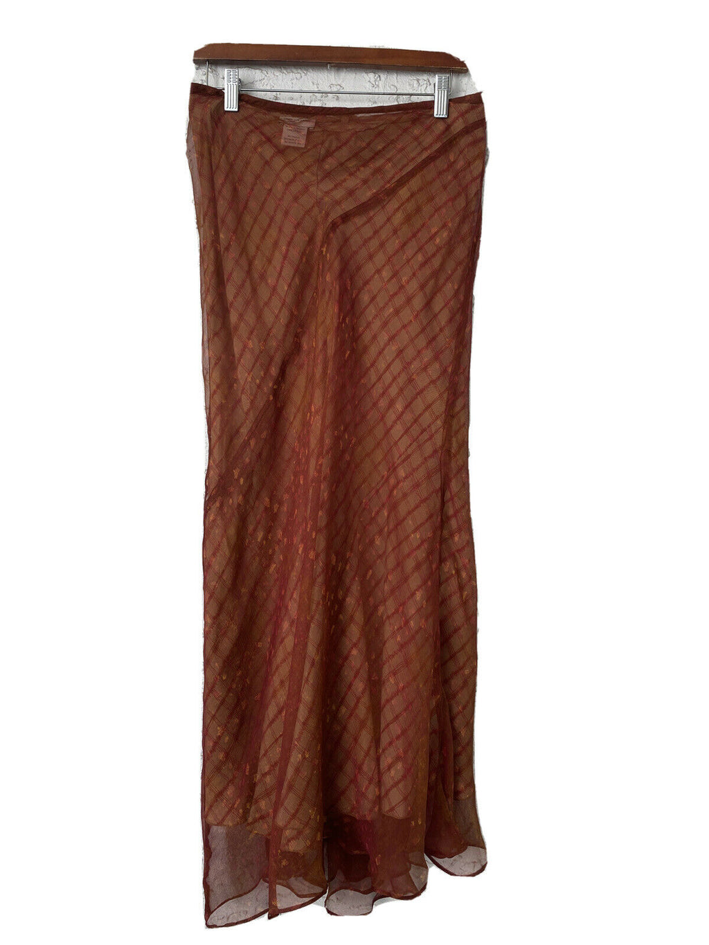 Dries Van Noten Womens Size 38/42 Red Beige Skirt Sheer Silk Printed Slip Maxi