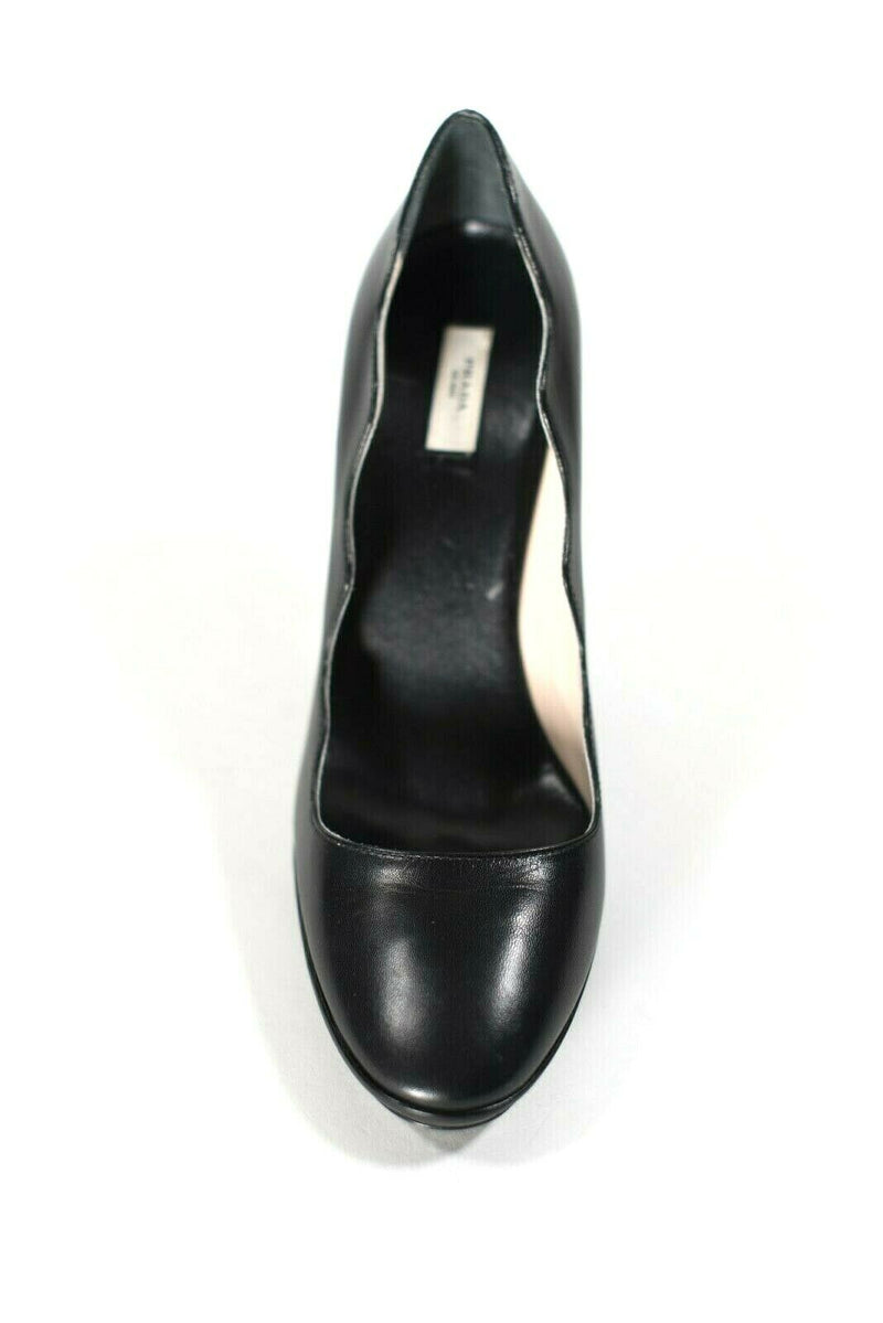 Prada Womens Size 38 Black Pumps Scalloped Edge High Heel Platform Leather Shoes